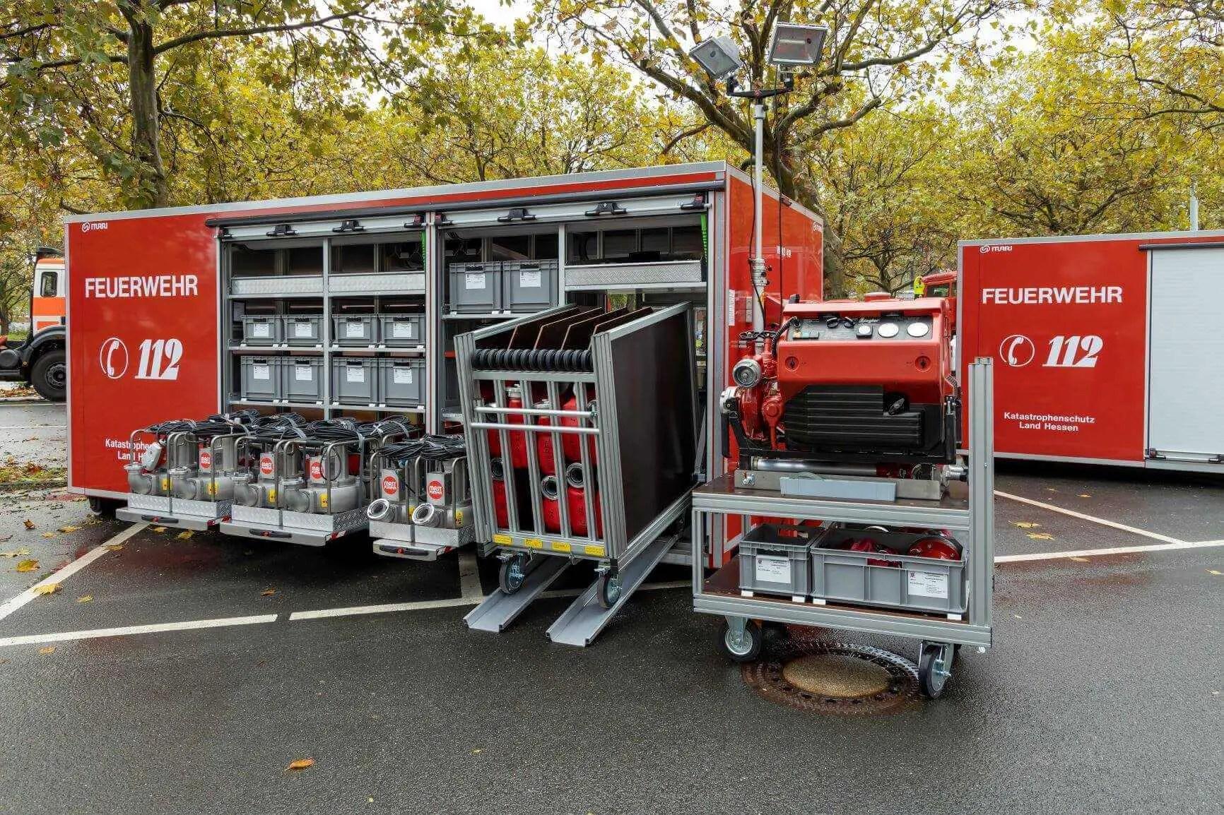 Abrollbehälter Starkregen für den Katastrophenschutz