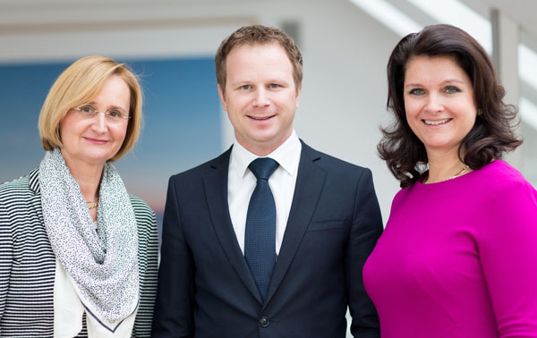 Dr. Manuela Maurer-Kollenz, Dr. Bernhard Kall und DDr. Katharina Müller