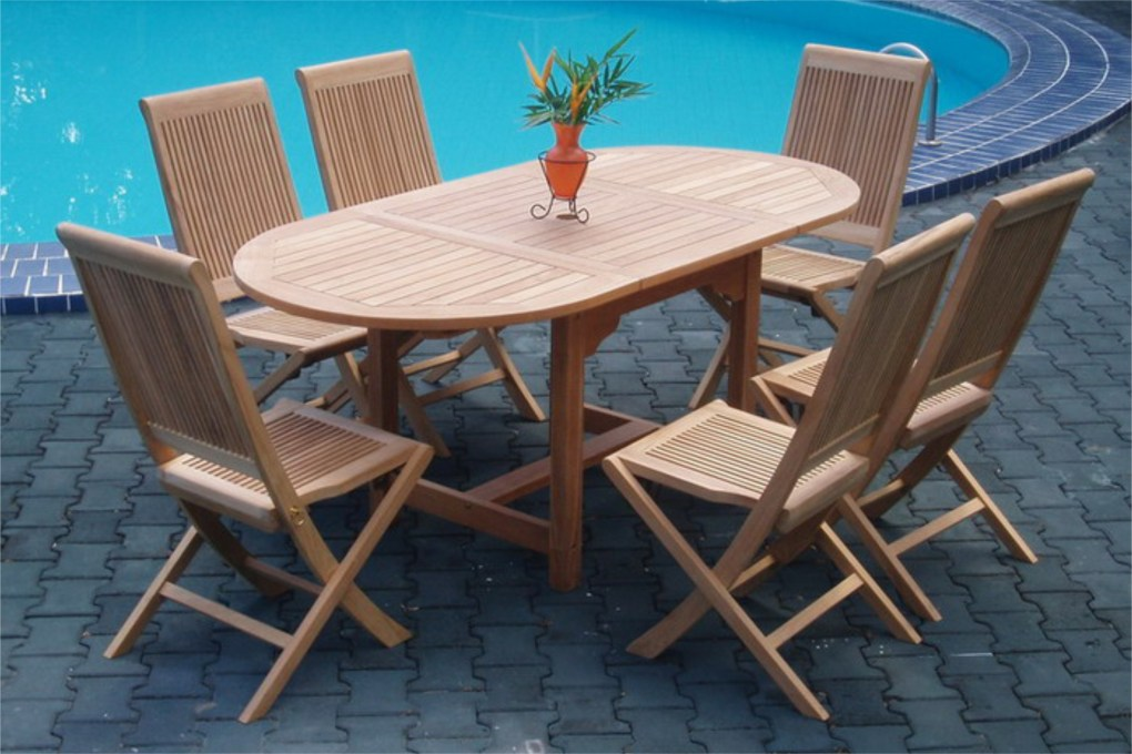 Collection Wooden Lahana Outdoor Furniture Dining Set