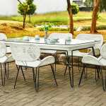 White Rattan Outdoor Dining Set Material Synthetic Rattan Metal Indonesia Teak Java Furniture Manufacturer Project And Wholesale