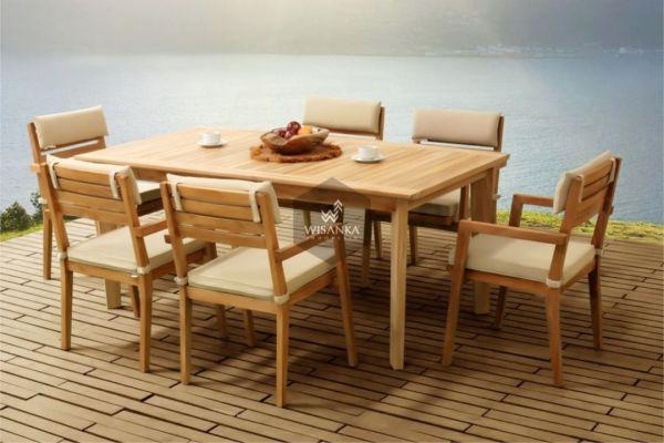 Beautiful Kansas outdoor teak dining set, comes out with one big rectangular din...