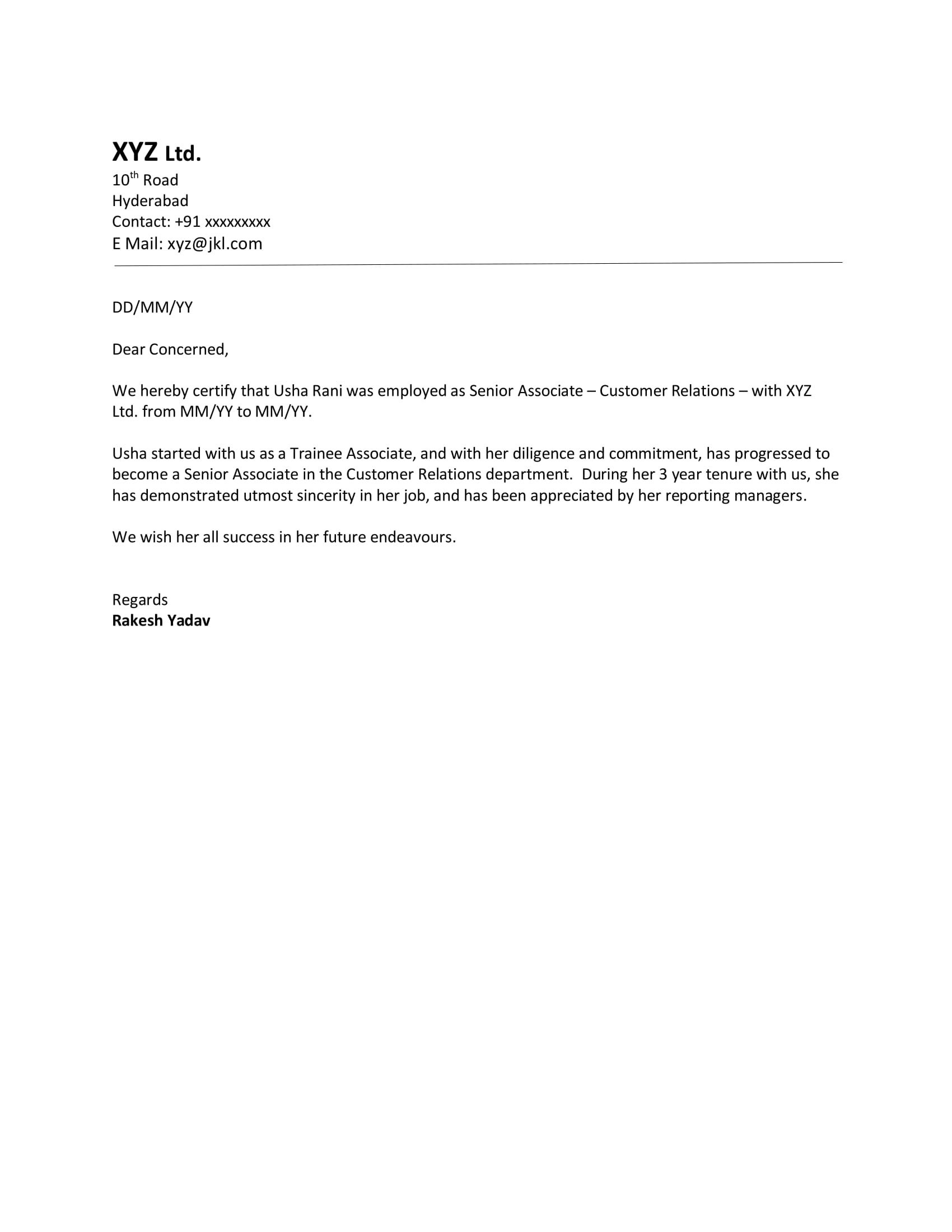 Experience letter format in word for hr executive lvelegant experience s le letter spiritdancerdesigns Image collections