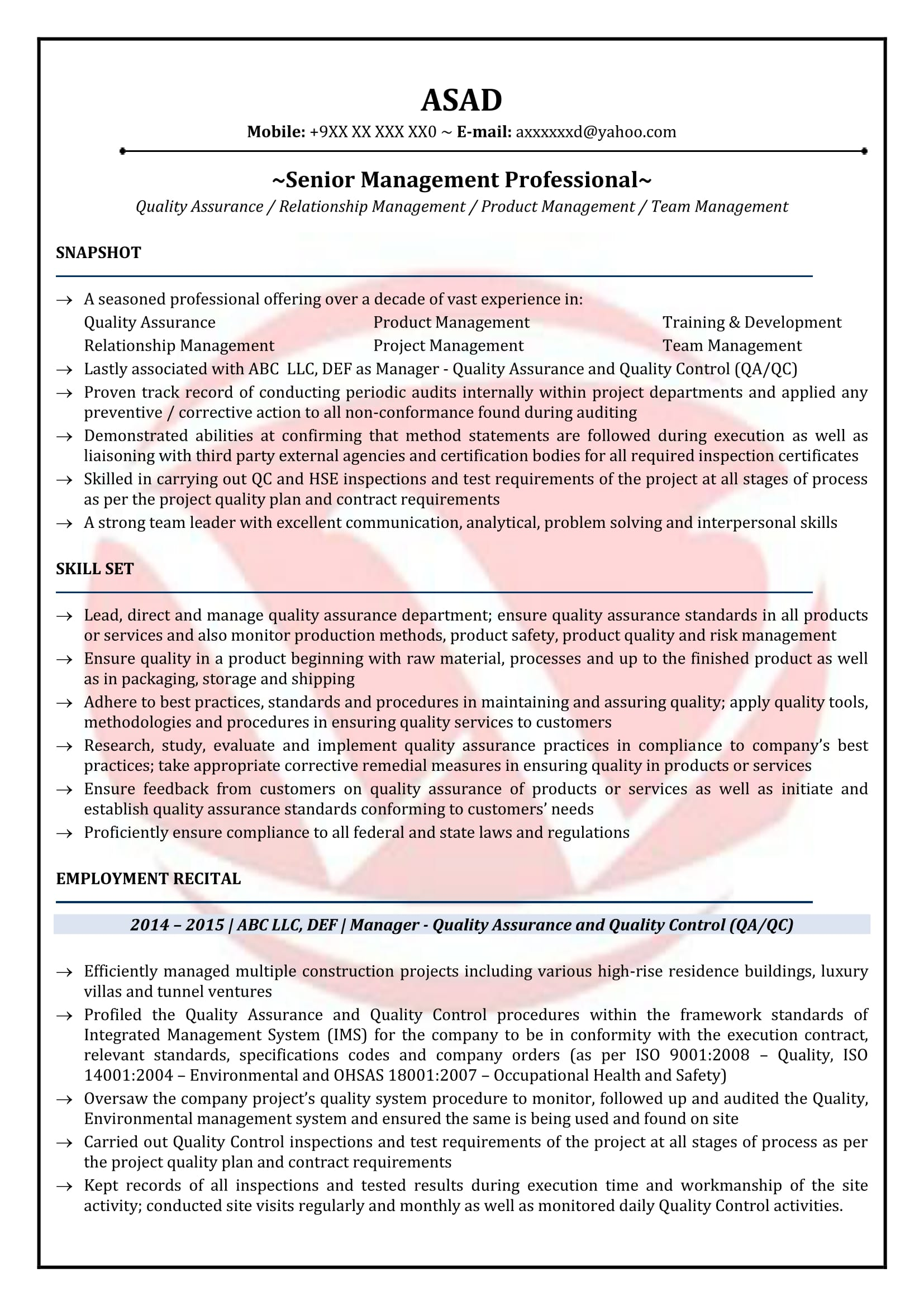 Qa Manager Sample Resumes Download Resume Format Templates
