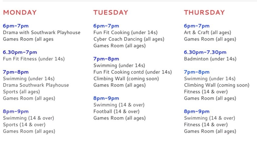 Activities at the Downside Youth Club. Please, visit the website for up-to-date information