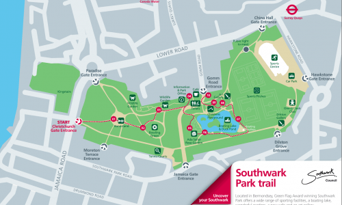 Southwark Park Trail Map