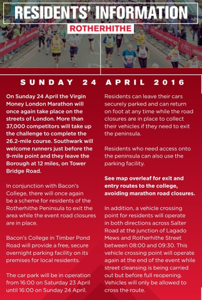 Virgin London Marathon Residents' information