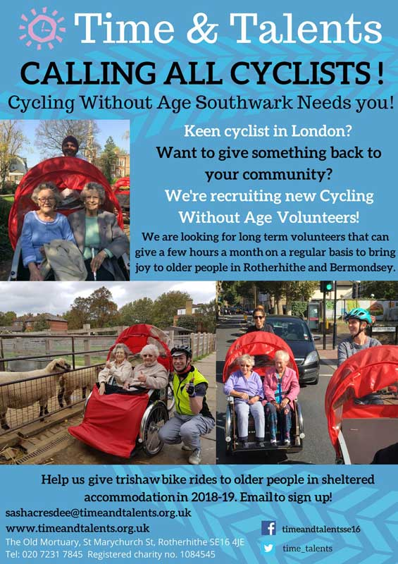Cycling Without Age Volunteers needed