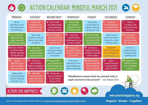 action for happinenes mindful march 2021