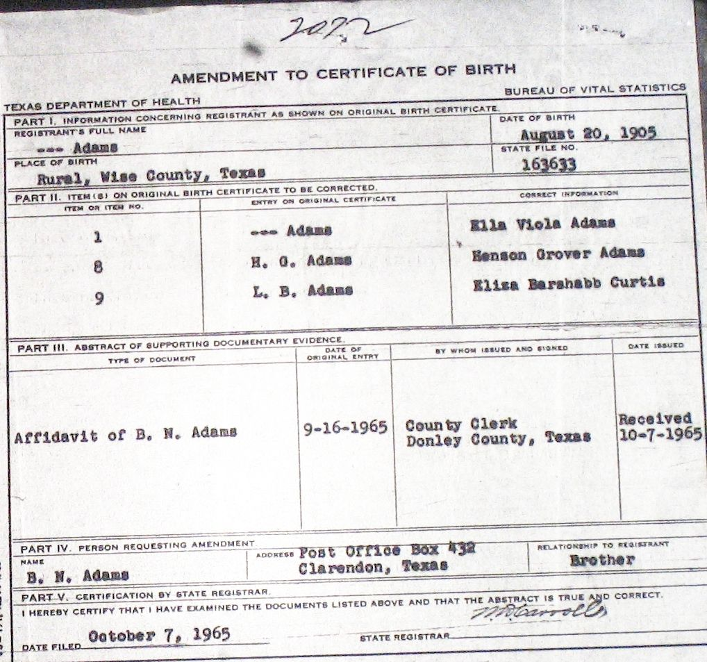 Wise County Birth Certificates 1900 1930 S Last Names A G