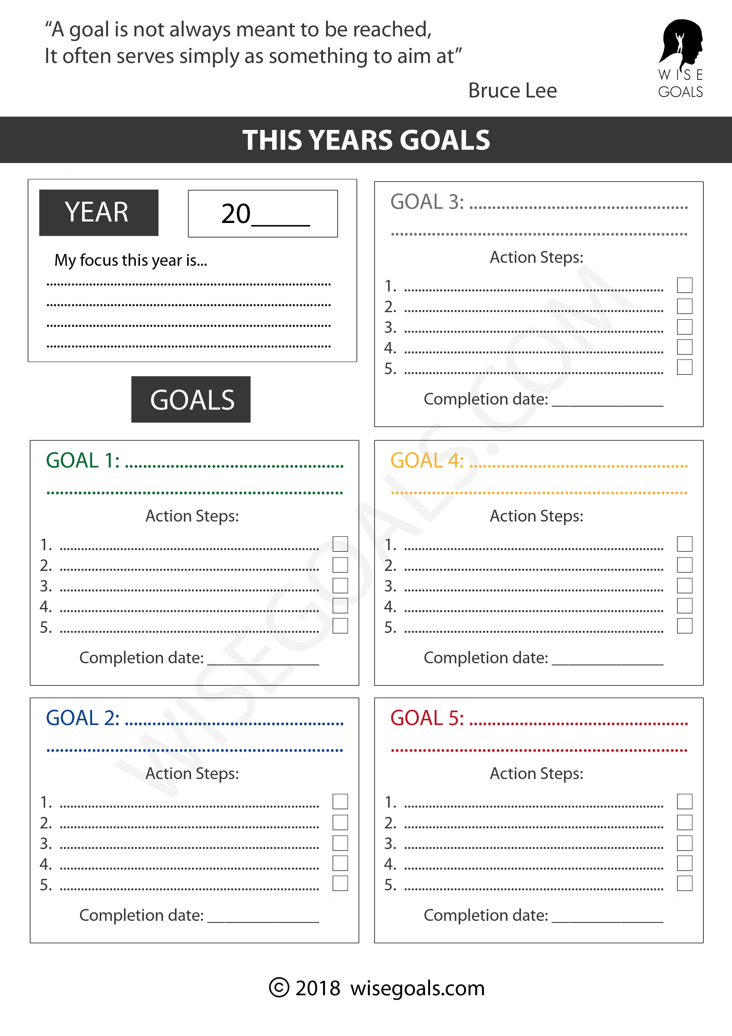 4 Stylish Goal Setting Worksheets To Print