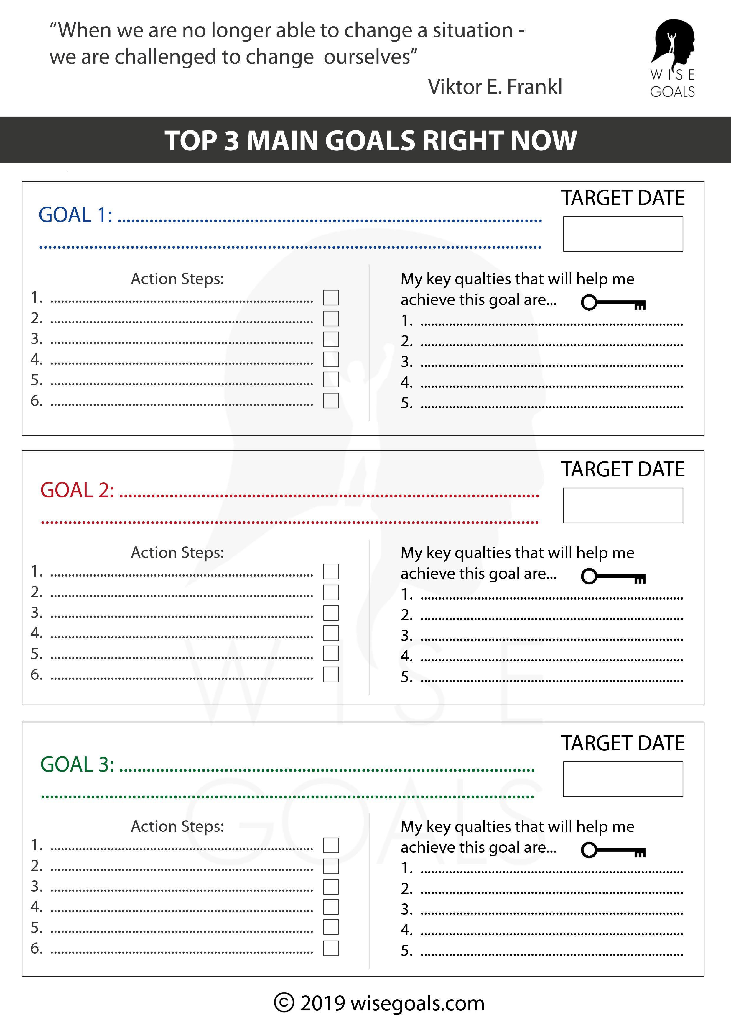 Stylish Goal Setting Worksheets To Print Free