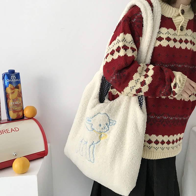 Women's Shopping Bag with Embroidery