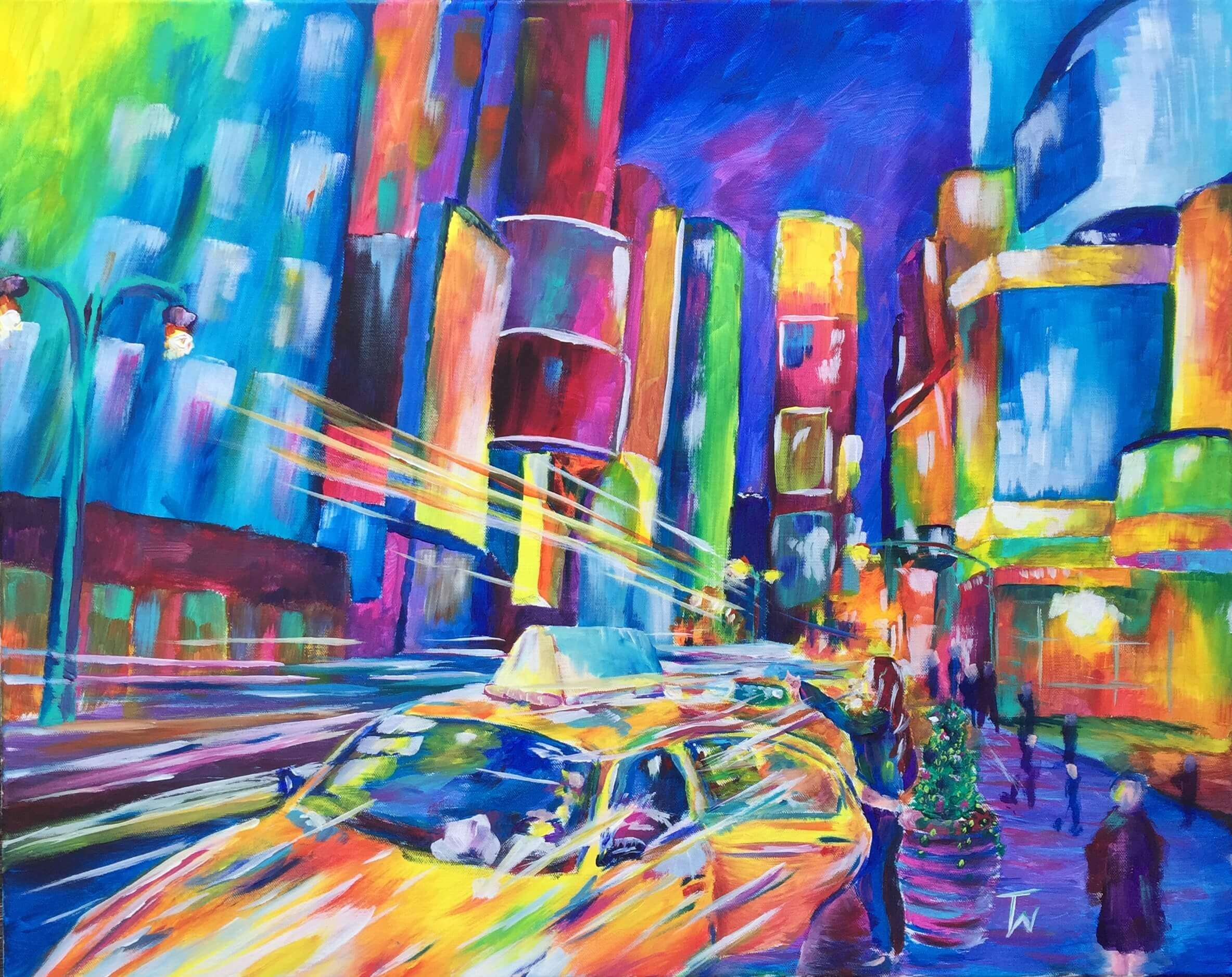 Night Life 24x30 Acrylic on Canvas by Taylor Wise