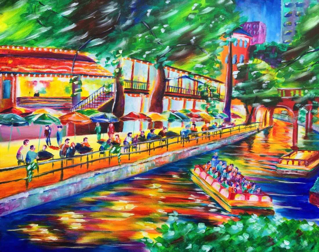 Night on the Riverwalk 24x30 Acrylic on Canvas by Taylor Wise