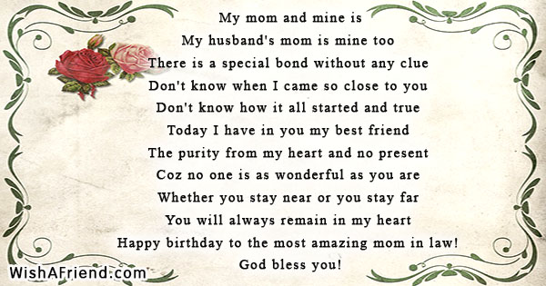 Birthday Poems For Mother In Law