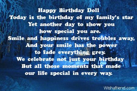 Happy Birthday Doll Daughter Birthday Poem