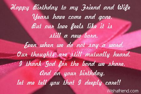 Happy Birthday To My Friend And Wife Wife Birthday Poem