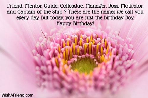 Friend Mentor Guide Colleague Manager Boss Birthday Wish For Boss