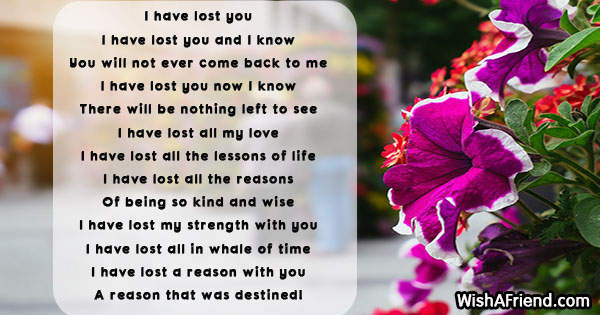 I Have Lost You Sad Love Poem For Her