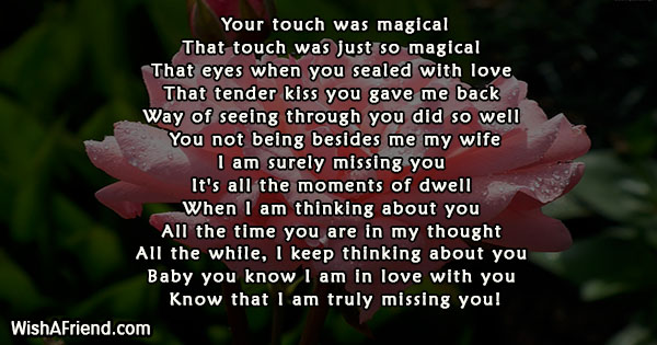 Your Touch Was Magical Missing You Poem For Wife