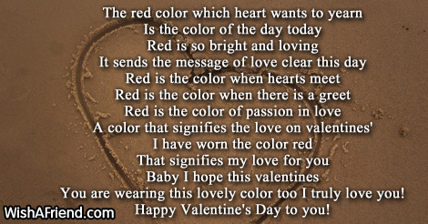 The Red Color Of Love Valentines Day Poem