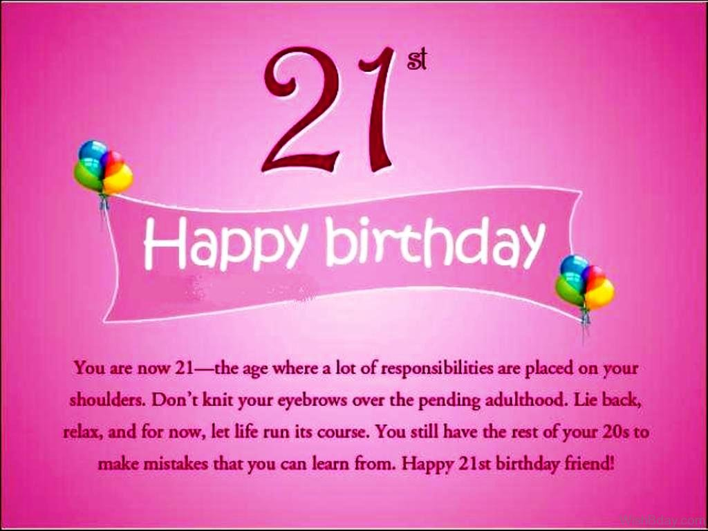 Messages Wishes And Cards Happy Birthday 21st