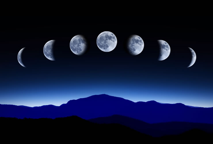 Moon Phases from New Moon to Full Moon