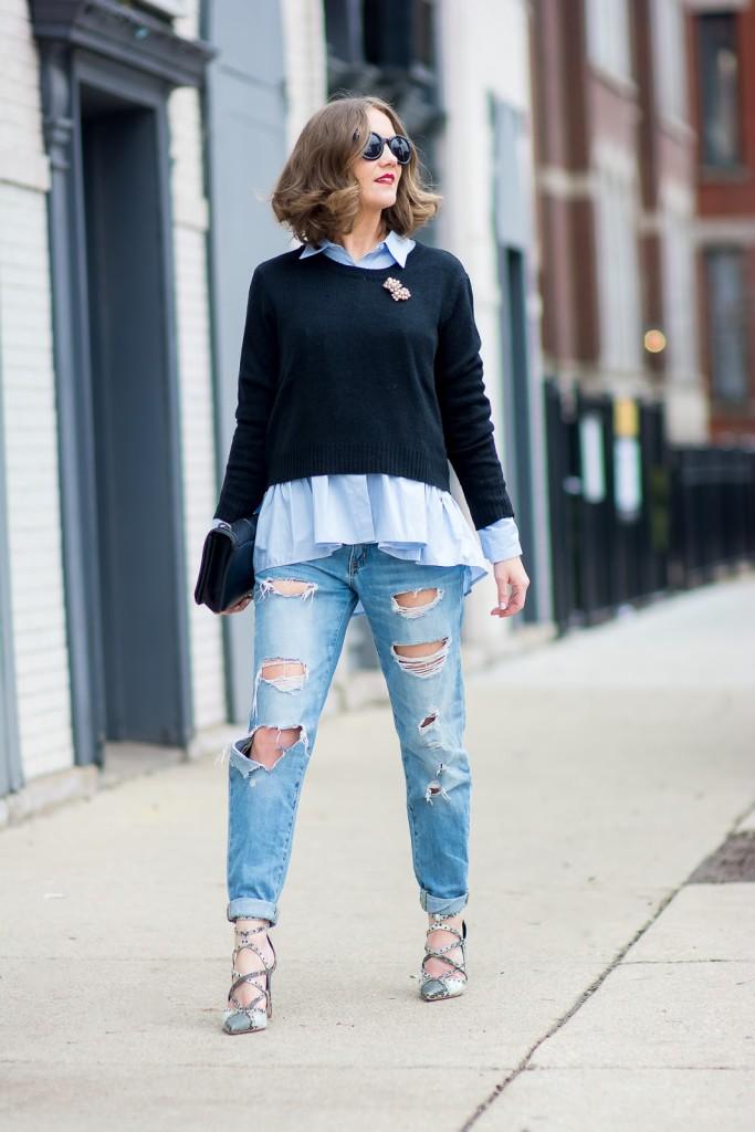 H&M black crocked sweater, H&M blue button up peplum blouse, Target distressed boyfriend jeans, Zara snakeskin heels, pearl brooch-2