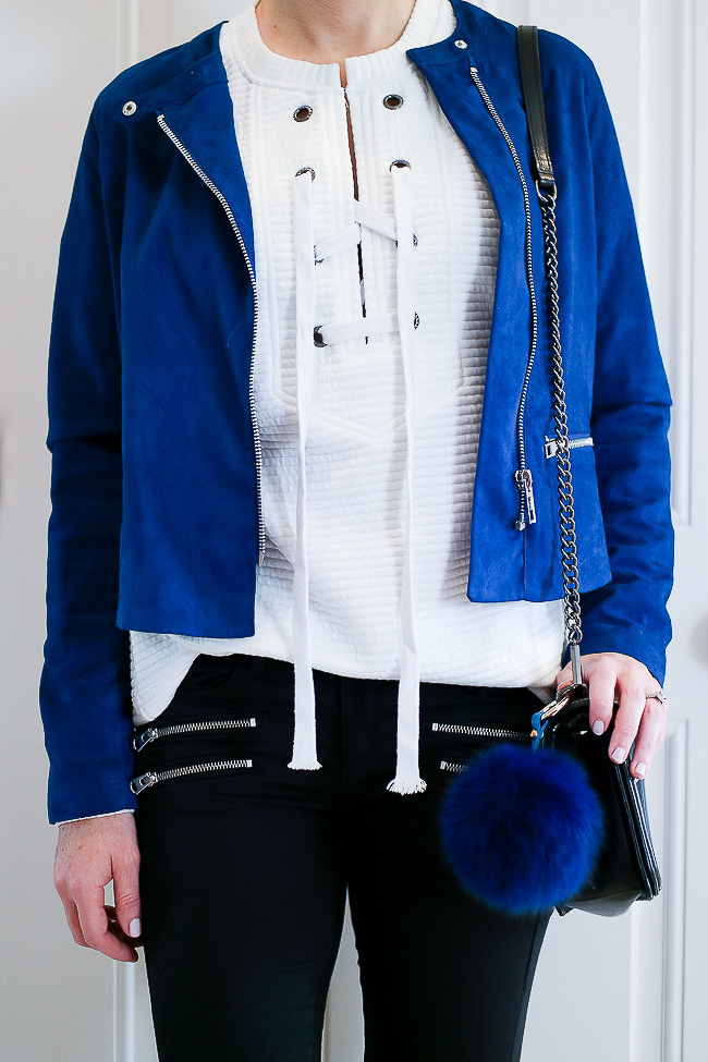 SheIn Lace Up sweatshirt, Who What Wear for Target blue suede jacket, blue fur bag charm