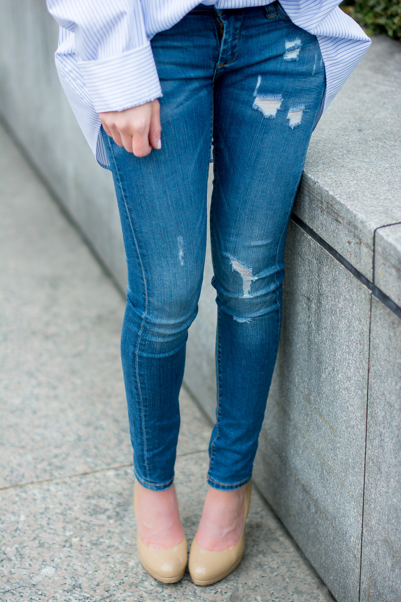 oversized-pinstripe-button-down-distressed-skinny-jeans-blank-nyc-LK-Bennett-nude-pumps-classic-casual