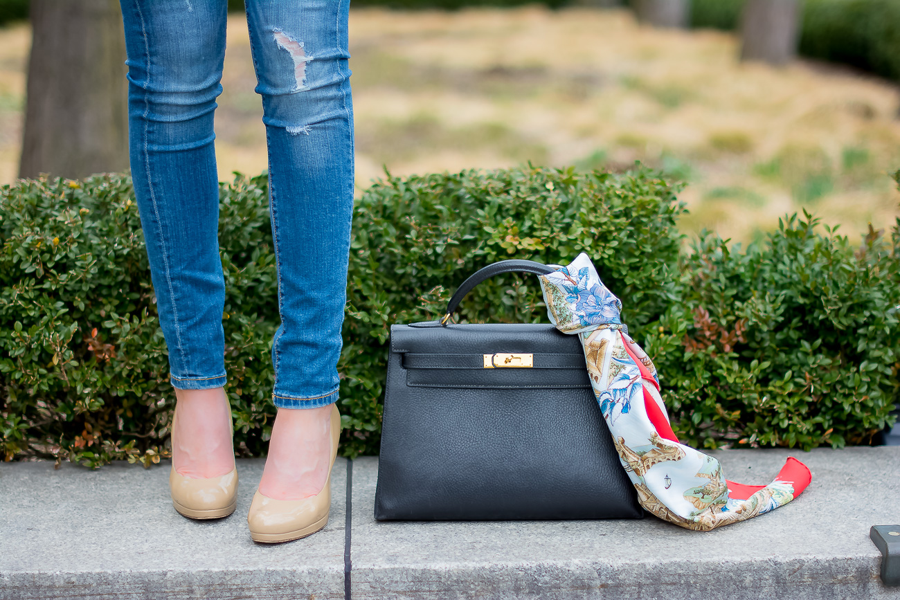 -hermes-kelly-bag-casual-outfit-hermes-vintage-scarf-down-distressed-skinny-jeans-blank-nyc-LK-Bennett-nude-pumps-classic-casual