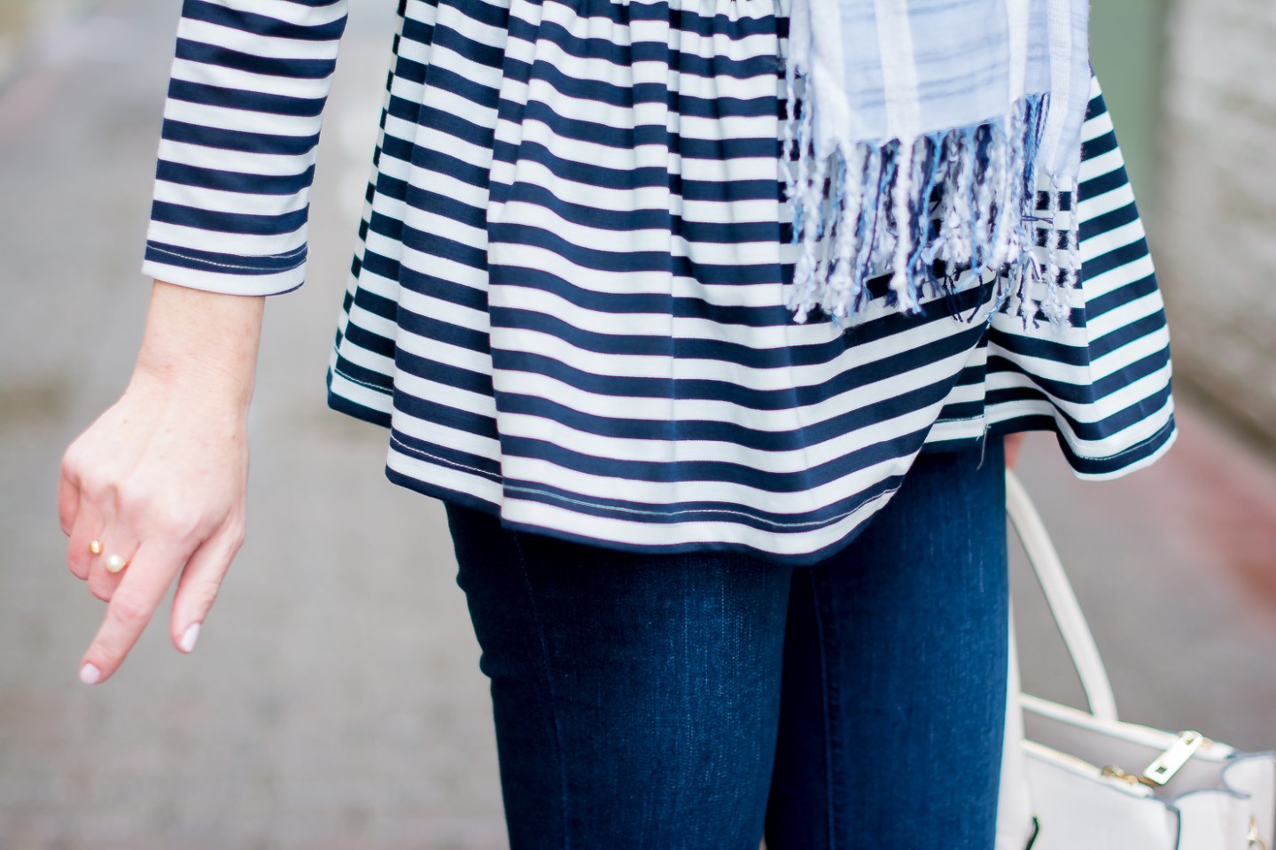 shein-blue-and-white-striped-peplum-jacket-high-rise-dark-wash-flares-spring-outfit