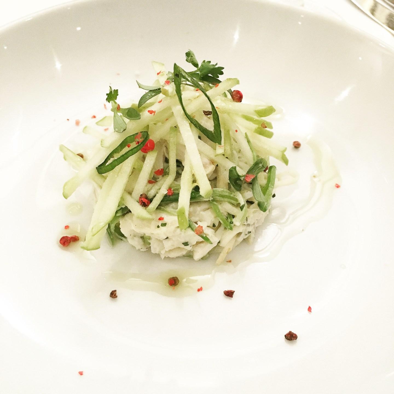 crab salad at Fig & Olive, spring 2016 menu tasting