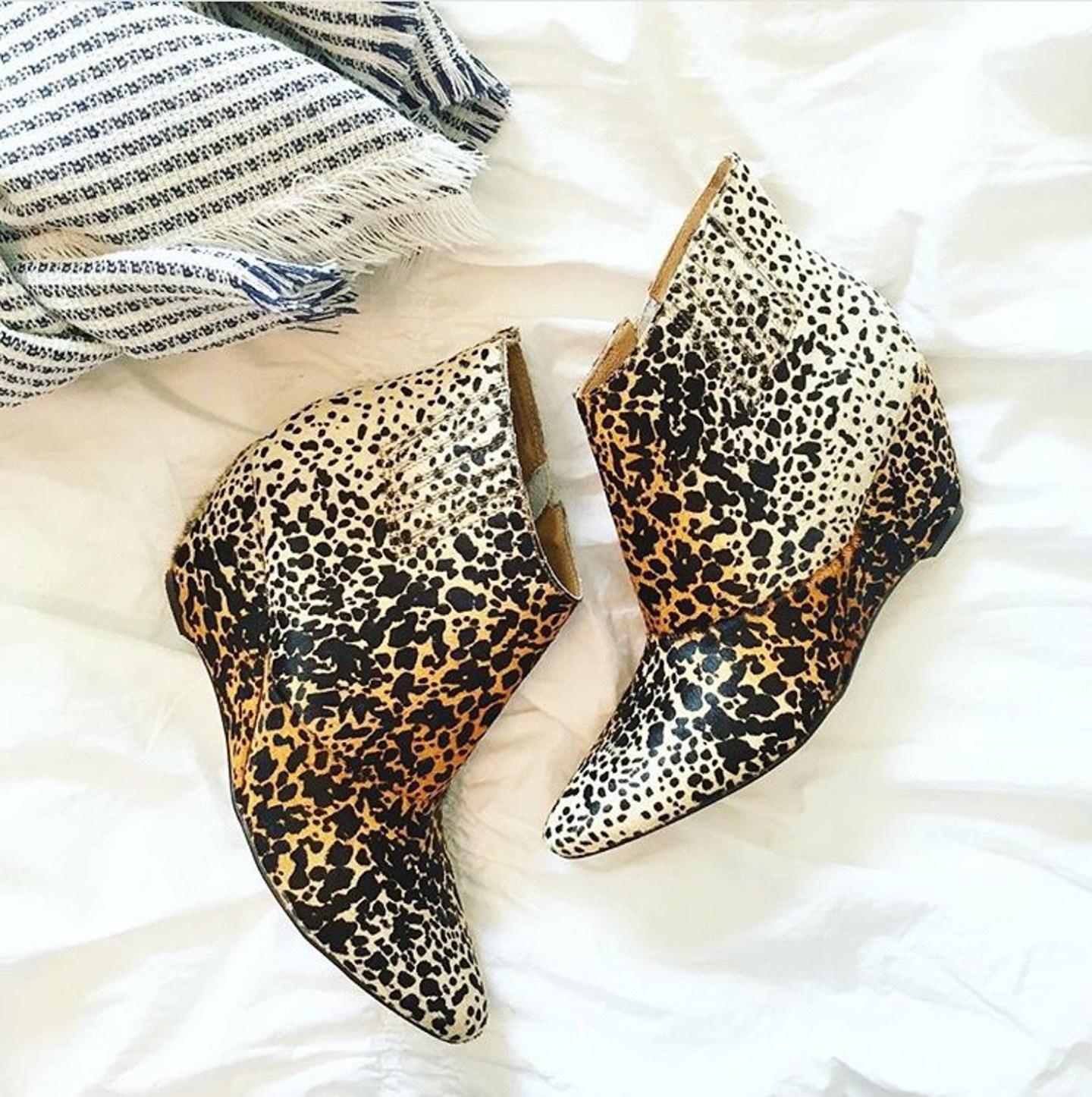 matisse leopard wedge booties