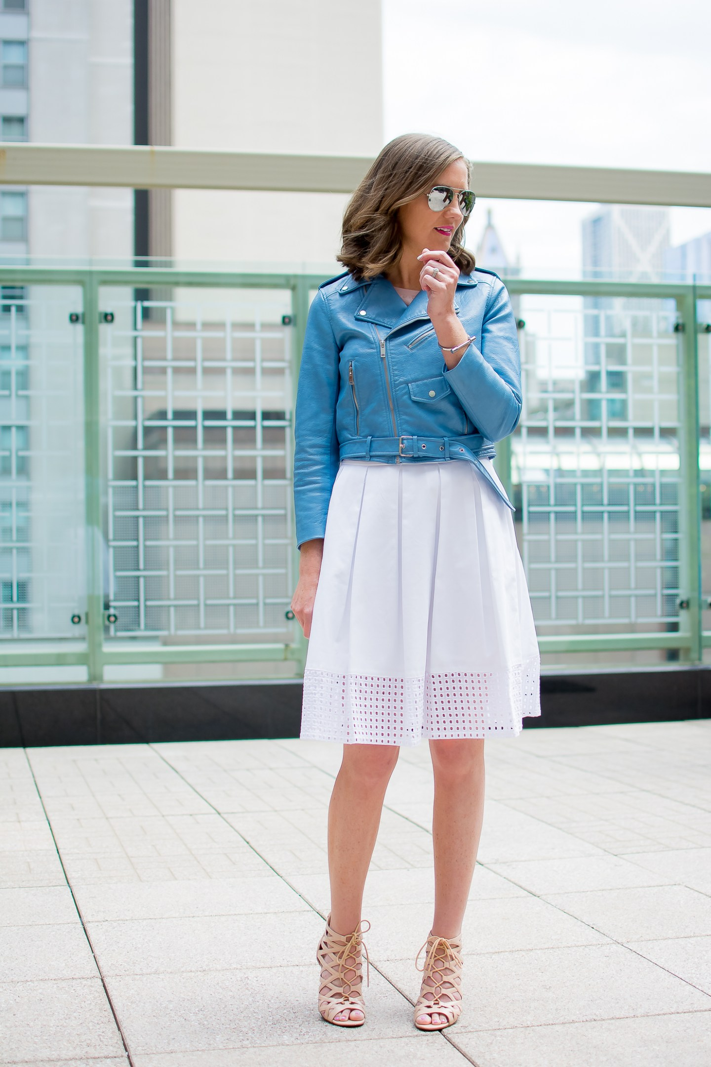 zara-blue-cropped-moto-jacket-white-eyelet-midi-skirt-chicago-terrace-lace-up-heels-peninsula-hotel