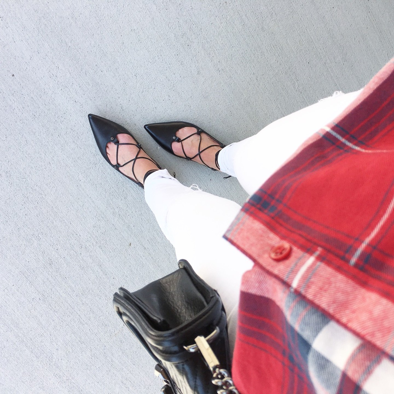 instagram-black-halogen-lace-up-flats-white-skinny-jeans-red-plaid-flannel-nsale-picks
