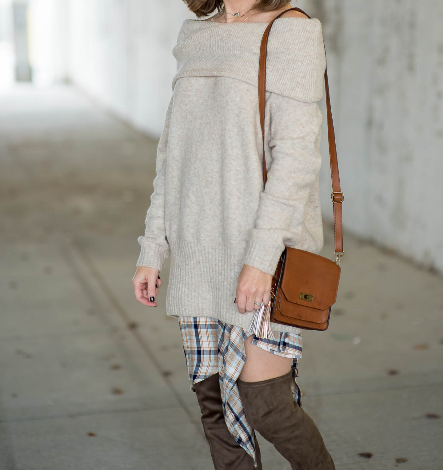 thanksgiving-outfit-idea-oversized-off-the-shoulder-sweater-over-plaid-shirt-the-best-ever-over-the-knee-boots-marc-fisher-alinda-boots