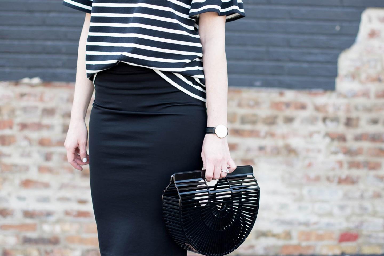 j crew black and white stripe ruffle sleeve tee, black zara pencil skirt, black acrylic cult gaia bag, white round sunnies, celine sunglasses dupe, black and white outfit