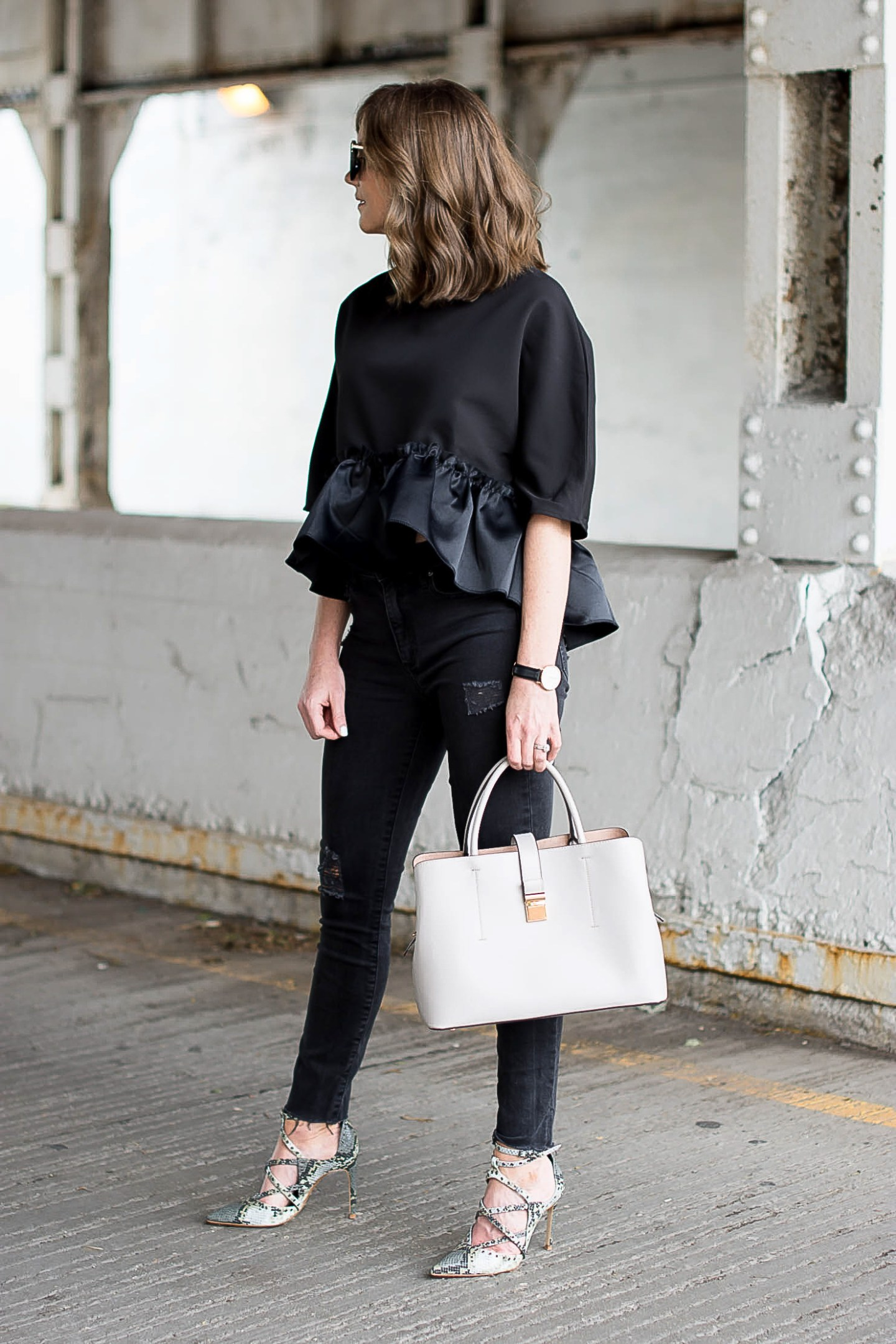 nordstrom black structured ruffle hem peplum top, monochromatic black fall outfit, the trick to finding affordable pieces that look expensive