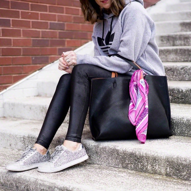 Ways to Style Leggings, adidas-sweatshirt-spanx-faux-leather-leggings-leggings-outfit-glitter-sneakers