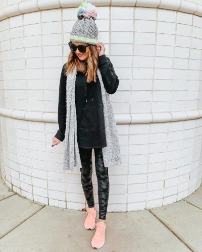 Ways to Style Leggings, black-tunic-sweatshirt-camo-spanx-faux-leather-leggings-pink-adidas-sneakers-monochromatic-outfit