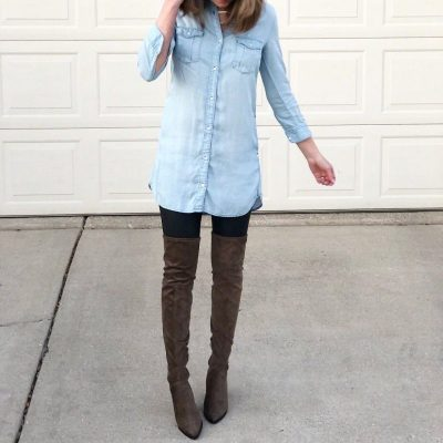 Ways to Style Leggings, chambray-tunic-top-spanx-faux-leather-leggings-leggings-outfit-over-the-knee-boots