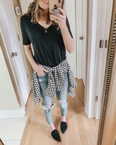 Casual spring fashion finds at Target, Target fashion, Spring Fashion, black and white gingham button down for women
