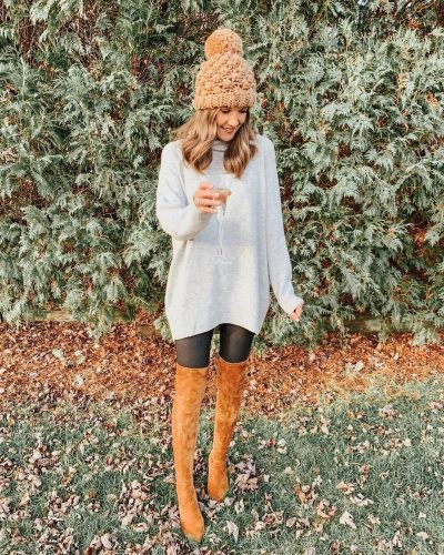 Ways to Style Leggings, tunic-sweater-faux-leather-leggings-goodnight-macaroon-over-the-knee-boots
