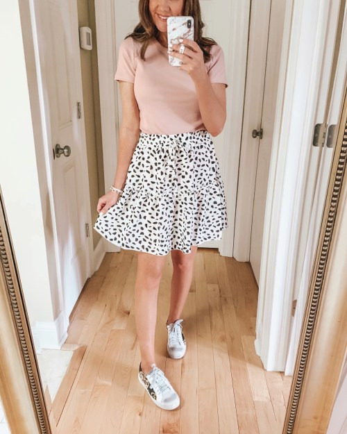 how to shop social media, Amazon tiered spotted, mini skirt mini skirt outfit, fashion over 40