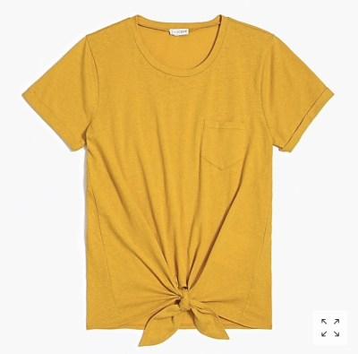 versatile summer fashion, J. Crew Factory tie front pocket tee
