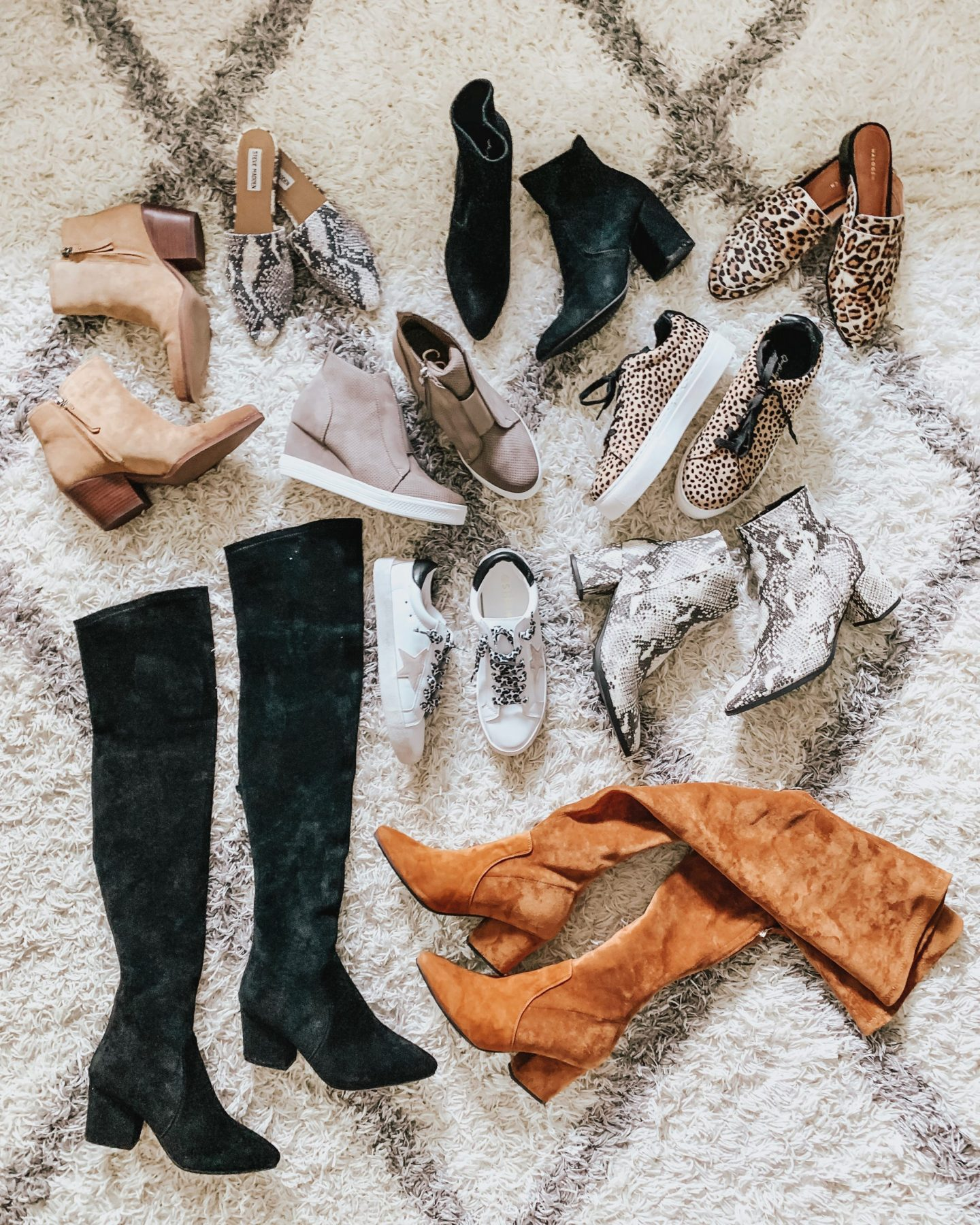 2019 Ultimate Guide to Fall's Best Shoes, snakeskin flats, leopard flats, over the knee boots, Golden Goose dupes, wedge sneakers