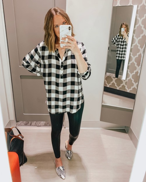 Target fall fashion preview 2019, black and white buffalo plaid tunic, Spanx faux leather leggings dupe, Wild Fable liquid leggings