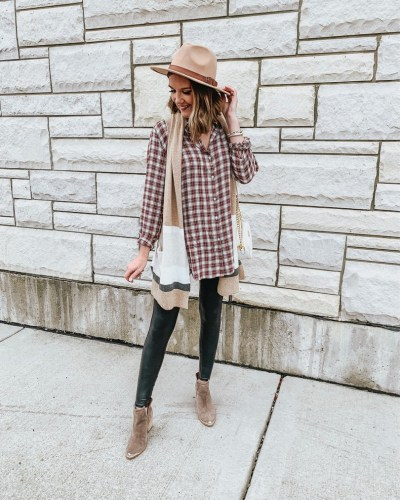 sleeveless-cardigan-plaid-shirt-leggings-and-layers