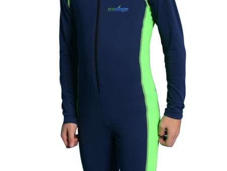 Boys Full Body Sun Protection Swimsuit UPF50+ Navy Lime Chlorine Resistant